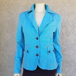 Twill Twenty Two Aqua Blue Cotton Denim Blazer